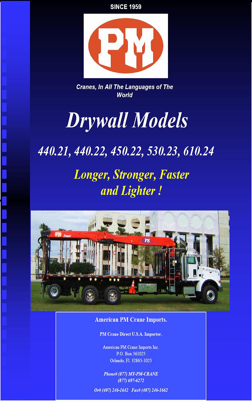 PM Drywall Crane Brochure Page 1